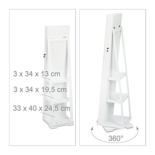 Relaxdays Schmuckschrank weiß mit Spiegel, XXL-Schmuckkasten abschließbar, Spiegelschrank zum Drehen HBT: 161x39,5x40cm - 5
