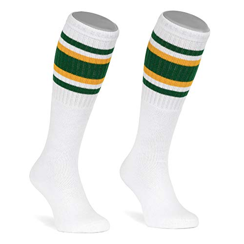 skatersocks 22 Inch Tube Socks weiß grün gelb gestreift Skater Socken für Damen und Herren mit Streifen