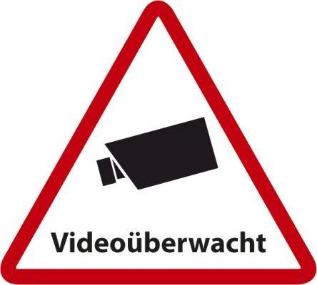 Aufkleber Videoüberwacht (Dreieck) - 5 x 4,5cm