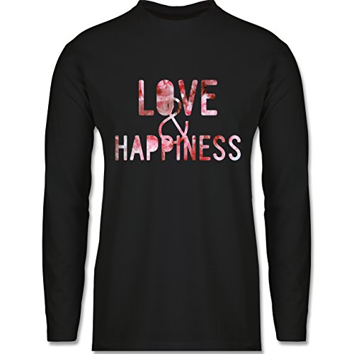 Statement Shirts - Love & Happiness Pink - Longsleeve / langärmeliges T-Shirt für Herren Schwarz
