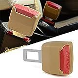 #9: FLYCONN 2 Pieces Car Auto Safety Seat Adjustable Belt Lock Buckle(BEIGE)