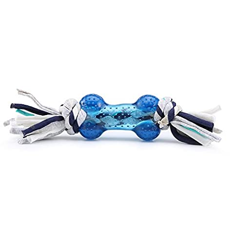 Pro goleem Langlebige Texturierte Gummi Knochen kauen Spielzeug für Hund mit colourfor geflochten Baumwolle Knoten, Zahnen Reinigung Bone, geeignet für Tauziehen, fecth und kognitive Training… (Blau)