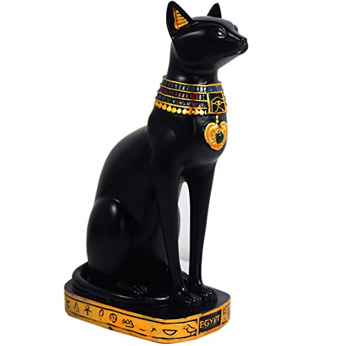 KiaoTime sculpture with feline deity figure from ancient Egypt, resin, black, 9.5 'Tall