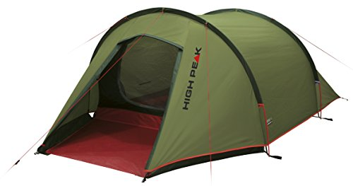 High Peak 10189 Tente randonnée Forme Tunnel Mixte Adulte, Vert Pest/Rouge, 340 x 180 x 105 cm