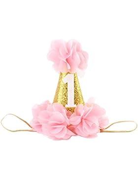 Kanggest Corona de Oro con Bandas Elásticas de Flores Multicolores para Cumpleaños de Bebé Adornos de Pelo de...