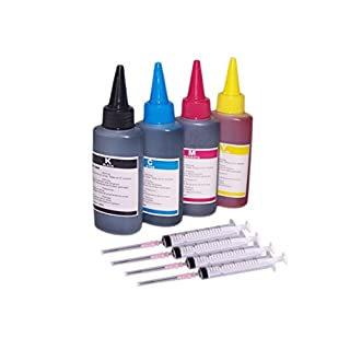 4 x 100ml Black Cyan Magenta Yellow Bottled Ink for EPSON,HP, Canon, Brother and LEXMARK Ink Refillable Ciss Cartridge Sytems High Quality Includes Blunt Needle and Syringe for refilling