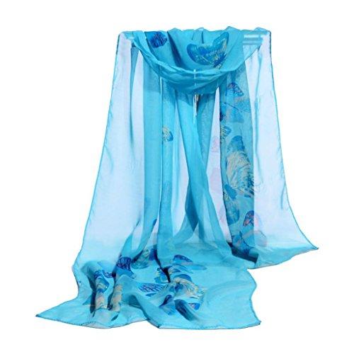 OVERDOSE Mode Frauen Chiffon Schmetterling Schal Weiche Wrap Schal Halstuch Tücher Schlauchschal Damen Schal Shawl,A-Blue - Taschen Mit Wollschal
