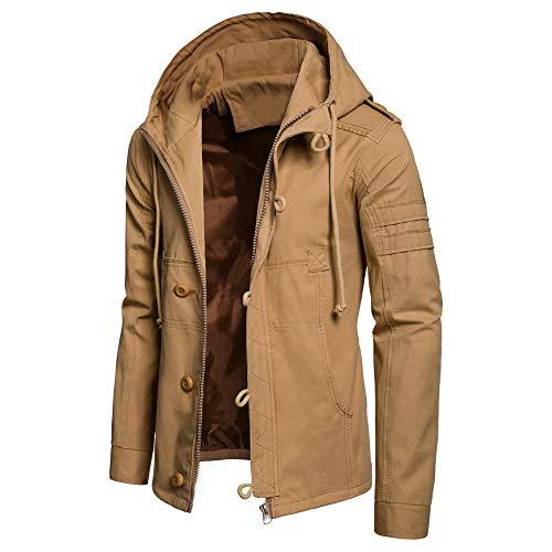 Lazzboy Uomo Giacca Cotone con Cappuccio Cappotto Casual Bottone con Coulisse Abbigliamento Cargo Capispalla Tendenza Moda(XL,Cachi)