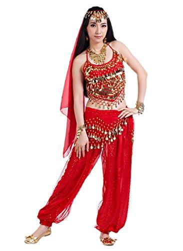 Bollywood Kostüm Damen Fasching Kostüm Indische Kleidung Bauchtanzkostüme Rot Hose ()