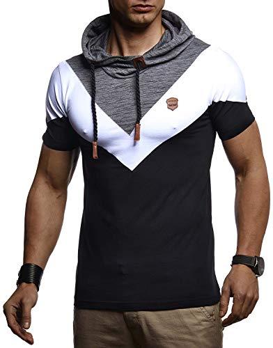1aa0855189fa5f LEIF NELSON Herren Sommer T-Shirt mit Kapuze Slim Fit Basic  Baumwolle-Anteil
