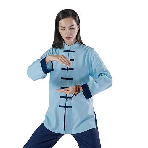 KSUA Frauen Martial Arts Uniform Tai Chi Anzug Chinesische Kung Fu Kleidung Baumwolle Wing Chun Kleidung Zen Meditation, Blau EU XS/Etikett S (Chinesische Kleidung Für Frauen)