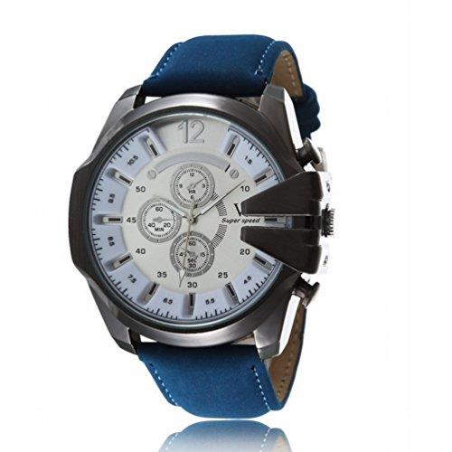 OrrOrr Retro Herren Braun Lederarmbanduhr Sportuhr Quartz Armbanduhr Weihnachtgeschenk Weiß Silber Blau