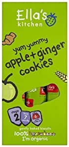 Ella's Kichen Stage 2 from 7 Months Organic Yum Yummy Apple and Ginger Cookies 108 g (Pack of 5)