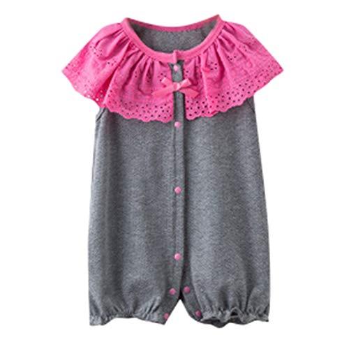 Jumpsuit Baby Mädchen Sommer Lace Riemen Rüschen Strampler Outfits Pwtchenty Bodysuit Baby Girl Short Sleeves Romper Outfits ()