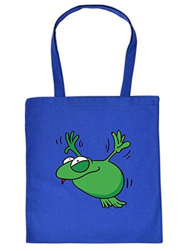 Amüsante Baumwoll Tragetasche in royalblau : lustiger Frosch, ein absoluter Hingucker! (Jugend-frosch)