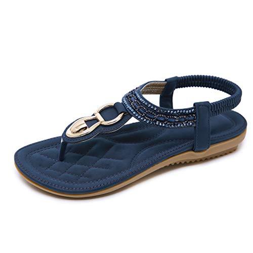 CARETOO Damen Sandalen Frauen Bohemian Strass Sandals PU Leder Elastischen Strand Schuhe Zehentrenner Pu-frauen-schuhe
