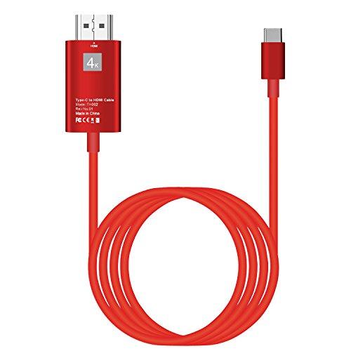 Cable USB Typc C a HDMI HDTV 4K  Adaptador 2M USB 3.1 Tipo C a HDMI  para MacBook / Chromebook Pixel / Yoga 910 / LG G5 / Samsung Galaxy (Rojo)