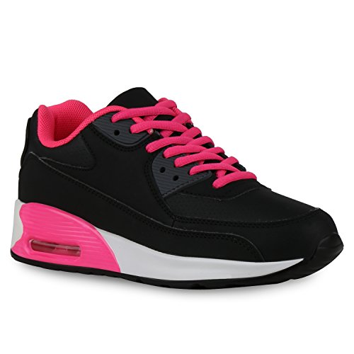 Trendige Unisex Damen Herren Kinder Laufschuhe Schnür Sneaker Sport Fitness Turnschuhe Schwarz All Pink