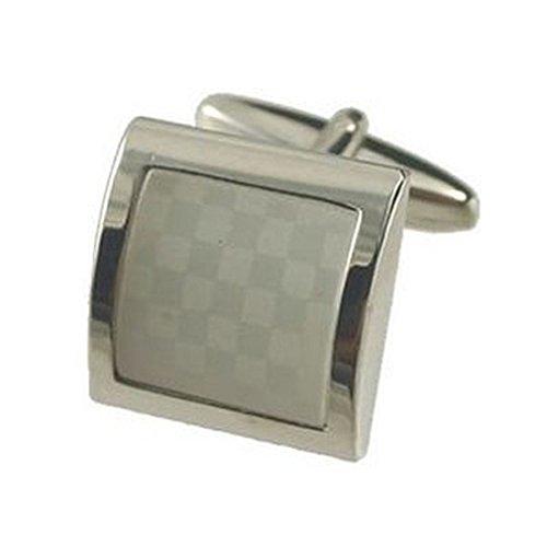 Collegamenti del bracciale bianco moda gemelli~Chessbord White gemelli + fatto a mano custodia nera - Custodia Regalo Personalizzato Scheda