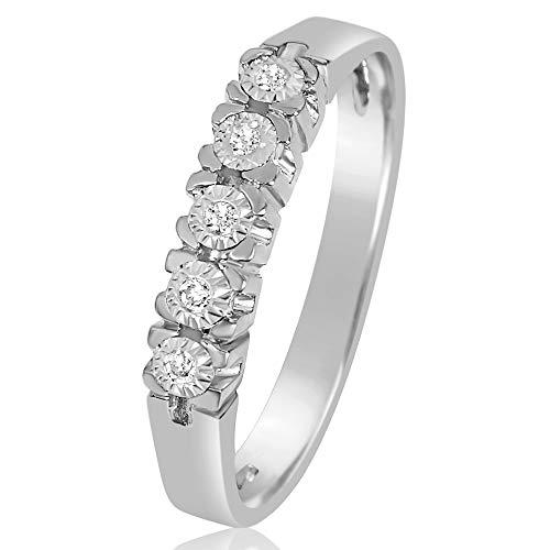 MILLE AMORI ∞ Anillo Mujer Compromiso Oro y Diamantes - Oro Blanco 9 Kt 375 ∞ Diamantes 0.03 Kt