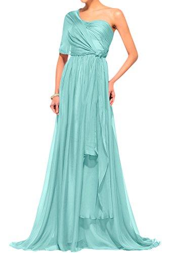 Gorgeous Bride Traumhaft Lang Trägerlos Empire Chiffon Abendkleider Lang Cocktailkleider Ballkleider Mintgrün