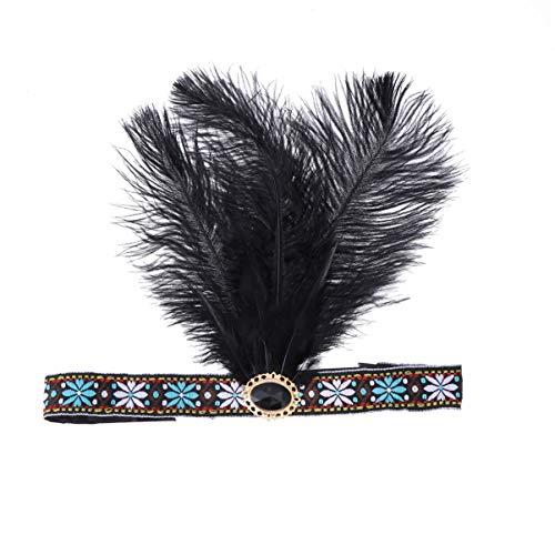 Indianisch Kostüm - Amosfun indische Feder Stirnband Halloween Cosplay Kostüm Zubehör Maskerade Haarband indianischen Kopfschmuck Kopfbedeckungen für Frauen Mädchen 1St