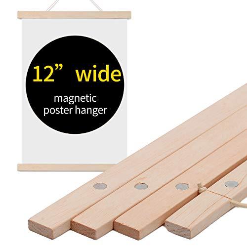 Wiwaplex Magnetischer Poster-Rahmen, 30,5 cm breit, Holz-Magnetrahmen, Aufhänger für Leinwand, Kunstdruck, Papier, Karte, Familie, Kinder, Foto, Wandaufhängung Modern 12 Inch beige - Aufhänger Kunstwerk Kinder
