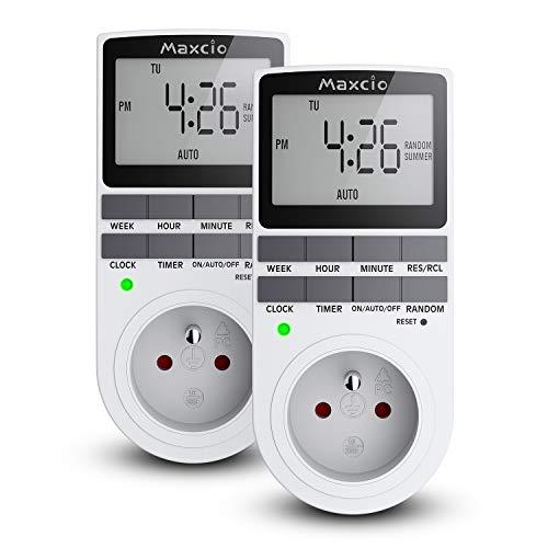 Maxcio Prise Programmable Digitale, Minuterie Numérique Journalier/Hebdomadaire, Programmateur Prise Electrique avec Ecran LCD et Mode Aléatoire Antivol, Économie d'Energie, 16A/3680W Max (2 Packs)