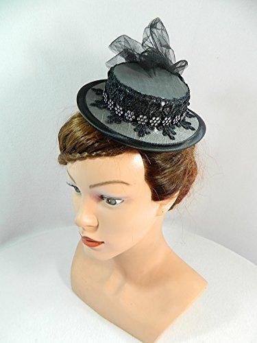 Mini Sommerhut grau Damenhut Fascinator Haarschmuck Brautfrisur Hütchen