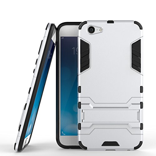Für VIVO X9 Plus Case 2 In 1 Hybrid Armor Denfender Shockproof Hard Back Cover Dual Layer TPU PC Anti-Kratzer Stoßdämpfung mit Stand ( Color : Blue ) Silver