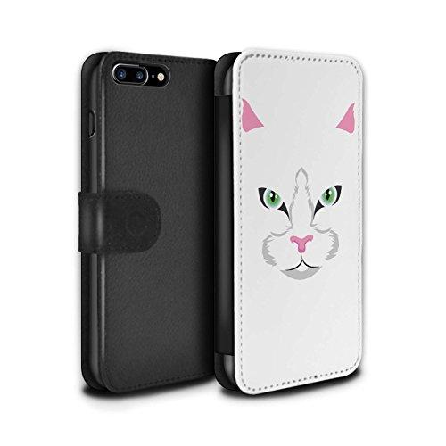 Stuff4 Coque/Etui/Housse Cuir PU Case/Cover pour Apple iPhone 7 Plus / Chat noir Design / Museaux Collection Chat blanc