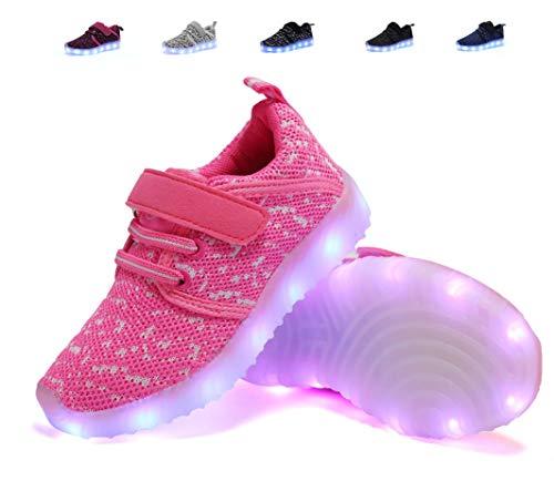 adituob kinder LED Schuhe Damen Herren Leuchten Sportschuhe Unisex USB Lade Outdoor Leichtathletik Paare Schuhe Rosa31