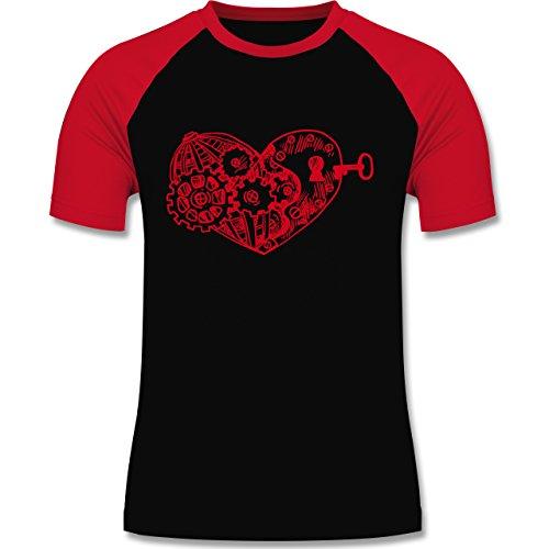 Valentinstag - Schlüssel zum Herzen - zweifarbiges Baseballshirt für Männer Schwarz/Rot