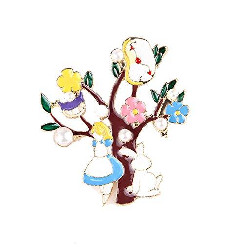 Scrox 1 Stück Märchenbrosche Alice im Wunderland Kürbisauto Halloween Ornament Geschenk für Halloween, Style6, 3.7cm*4.3cm