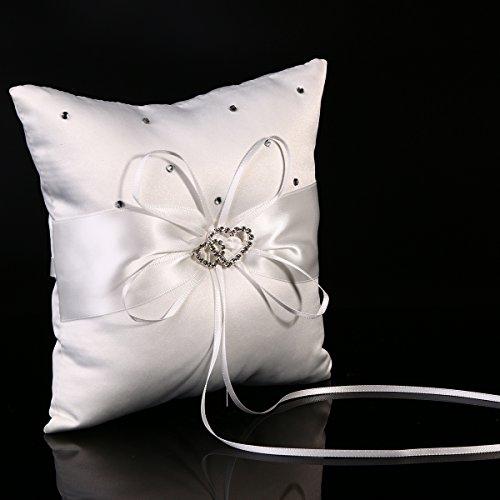 Foto de XCSOURCE® Cojín para Anillos de Satén Boda Alianzas Blanco Matrimonio Cojín Decorativo WG045