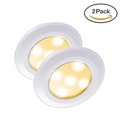VIPMOON 2 Stück 5-SMD 3528 LED Lichtleiste Bewegungsmelder Batteriebetriebene festkleben an jedem Ort, Ideal für Wandschrank, Unter-Kabinett, Korridor, Garage, Treppenhaus, Bar Licht Lampe (Warmweiß)