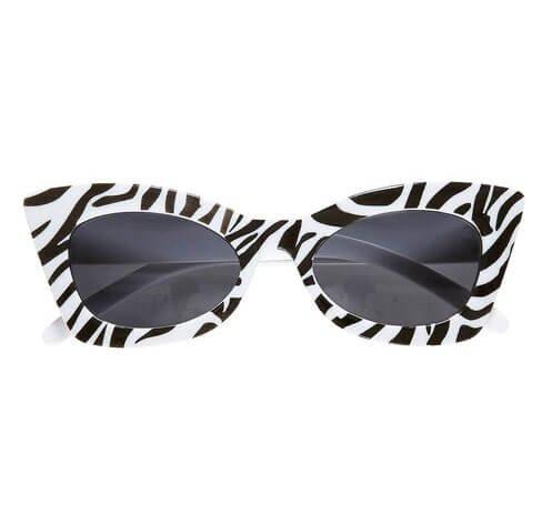 BILLY * mit Zebra-Muster als Verkleidung für Amerika-Party, Karneval oder Retro-Mottoparty // Brille Geburtstag 50er 60er Klassik Kult schwarz weiß Party Partyglasses Glasses Sun (Party-thema-ideen Für Erwachsene)