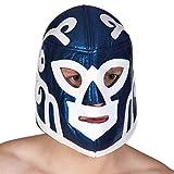 Amakando Masque Catch Mexicain / Bleu-Blanc / Accessoire Costume Super-héros / Exactement ce qu'il Faut pour Carnaval & fête costumée