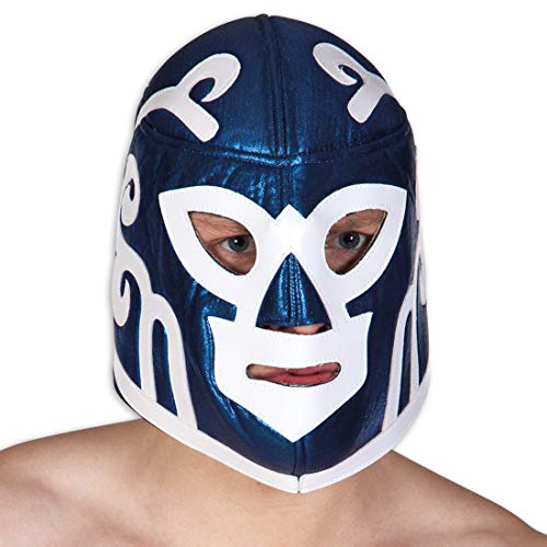 Amakando Mexikanische Maske Wrestler / Blau-Weiß / Superhelden Kostüm-Zubehör Erwachsene / Genau richtig zu Fasching & Karneval
