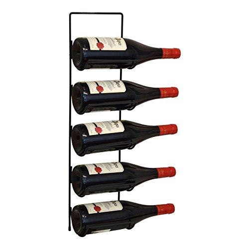Harbour housewares, portabottiglie per vino, da parete, in metallo, colore nero, per 5 bottiglie