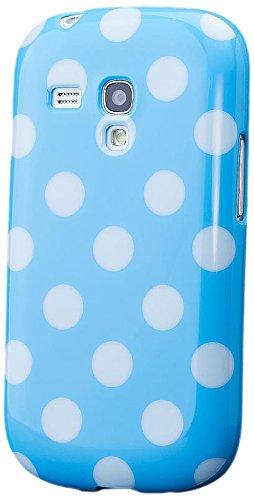 iCues Schutzhülle für Samsung Galaxy S3 MINI   Polka Dots TPU Case Hellblau   [Display Schutzfolie Inklusive] Damen Frauen Mädchen Silikon Gel Motiv Muster Hülle Cover Schutz