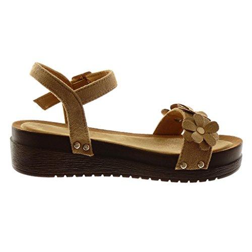 Angkorly Chaussure Mode Sandale Mule Plateforme Lanière Cheville Femme Fleurs Clouté Bois Talon Compensé Plateforme 4.5 cm Camel