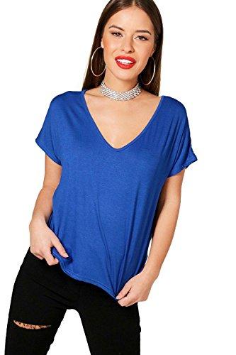 Petite V-ausschnitt Bluse (Kobalt Damen Petite Milly lässiges T-Shirt mit V-Ausschnitt - 4)