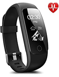 AsiaLONG Fitness Armband mit Pulsmesser, Fitness Tracker Pulsuhr Aktivitätstracker Bluetooth Schrittzähler Uhr mit Herzfrequenz/ Schlafanalyse/ Kalorienzähler/ SMS SNS Call Benachrichtigung/ Wetter Push/ Stoppuhr/ 14 Trainingsmodi Smartwatch für iOS und Android Handy wie iPhone, Huawei, Samsung, Sony, usw