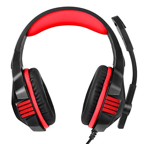 TING Headset, Tenswall Gaming Headset per Xbox One, PC, PS4, Laptop, Tablet, Mobile, LED Light Over-Ear Stereo Gaming Cuffie con Microfono Noise Cancel e Controllo del Volume, Blu, Rosso