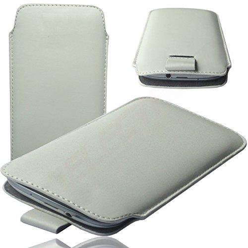 MX WEIß Slim Cover Case Schutz Hülle Pull UP Etui Smartphone Tasche für Switel Sunny Turbo S53D