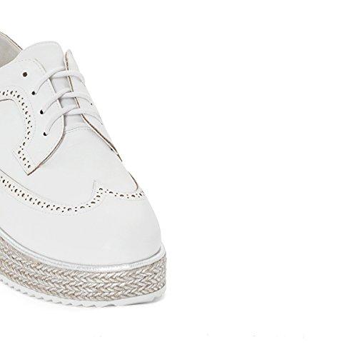 Chaussures pour femmes La Redoute Collections Derby Femme En Cuir Avec  Semelle Compensée Blanche Tissée ... 34dea461fa3d