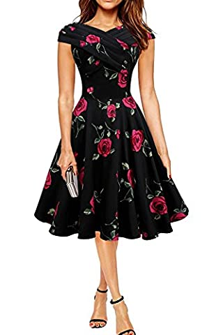 Minetom Femme Robe Vintage Années 1950 Style Audrey Hepburn Sans Manches Rockabilly Swing Robes de Cocktaile avec Grande Rose Rouge FR 42