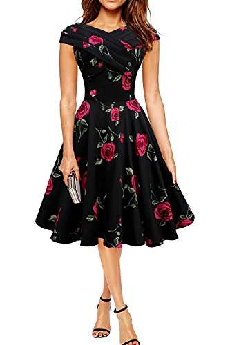 Minetom Damen Vintage Stil Rose Rock-Retro Audrey Hepburn Rockabilly Kleid Blumen Drucken Pin-up Dress Party Kleid Rot DE 46 (Blumen-rock Rose)