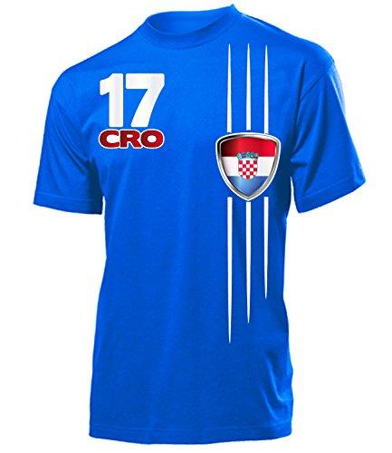 Kroatien Fanshirt Streifen 4300 Fussball Herren Fun-T-Shirts Blau XXL